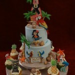 Hawaiian birthday celebration cake