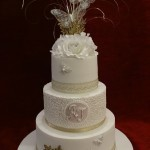 Golden anniversary diamante pearl butterfly celebration cake