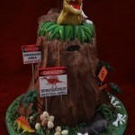 Dinosaur volcano Island birthday celebration