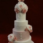 4 tier Vintage lace pearl rose birds wedding cake