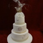 3 tier traditional diamante pearl butterfly wedding cake