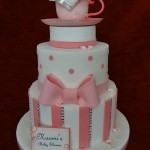 Diamante sugar bow candy stripe polka dot Baby In a Teacup celebration baby shower cake