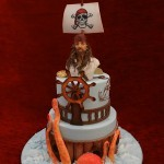 Pirates of the Carribean Jack Sparrow birthday celebration pirate ship octopus cake