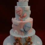 Sugar Teddy Bear Blue & Pink Balloons Clouds Baby 1st Birthday Celebration Cake