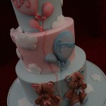 Sugar Teddy Bears Pink & Blue Balloons Clouds 1st Birthday Celebration Cake