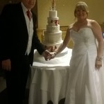 Hatbox Diamante Hearts sugar tassles and rope Wedding Cake