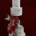 Modern Elegant Stunning Floral Diamante pearl Butterfly Wedding Cake