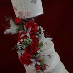Modern Elegant Diamante Pearl Butterfly Floral Wedding Cake