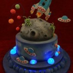 Space Ship Alien planets Birthday celebration cake
