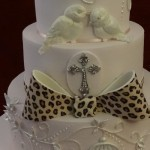 Birdcage Birds Vintage Diamante Leopard print Christening Baptism Naming Ceremony Celebration Cake