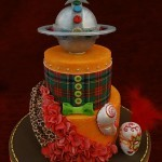 Vivienne Westwood Orb Tartan Orange Carnival Maquerade Mask Sugar Drape and Ruffles Birthday Celebration Cake