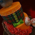 Vivienne Westwood Orb Tartan Orange Carnival Mask Sugar Drape and Ruffles Birthday Celebration Cake