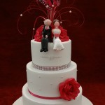 3 tier traditional wedding cake diamante love heart bride and groom butterfly white wedding cake
