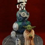 Star Wars cake planets storm trooper Yoda R2D2 space ship Falcon Millenium Death Star birthday celebration cake