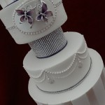 4 Tier Modern Candy Stripe Sugar Pearls Butterflys Roses Diamante Heart Wedding Cake