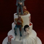 Bride And Groom Zombie Walking Dead 3 Tier White Dimante Wedding Cake