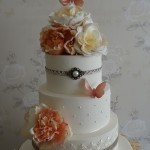 Vintage shabby chic style 3 tier lace pearl Butterfly Wedding Cake
