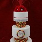 Skittles Diamante Gerbera White 3 Tier wedding Cake