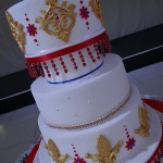 Asian Influenced Red and Gold 5 Tier Wedding Cake