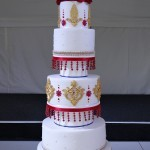 Asian Influenced Red, Blue and Gold 5 Tier Wedding Cake