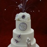 3 Tier Rose Bride and Groom Butterfly Wedding Cake