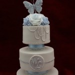 3 Tier Vintage Rose baby Blue Diamante Butterfly White Wedding Cake