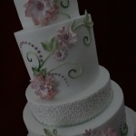 Hand painted Wedding Cake with delicate Sugar Flowers