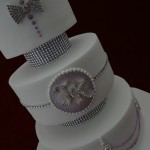 Diamante Purple Lilac Pearl bling bride and Groom 3 Tier Wedding Cake