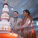 Asian Influence Red and Gold Wedding Cake