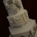 Diamante Cross Cherub Silver and White Christening Celebration Cake