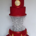 Asian Influenced sugar elephants red and gold diamante crystal wedding cake