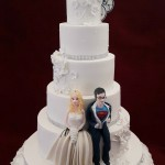 5 Tier Floral Sugar Flowers Diamante Mr and Mrs Superman Dr Who Cake Topper White Wedding Cake