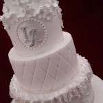Diamante Tumbling Blossom White and Silver Quilted Christening Celebration Cake