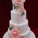 4 Tier Floral Sugar Flowers Piped Sugar Brush Embroidery Wedding Cake