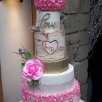 Mr and Mrs Rustic Country Glam Tumbling Blossom Lace Tree Log Wedding Cake