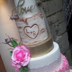 Mr and Mrs Rustic Country Glam Love Tumbling Blossom Lace Tree Log Wedding Cake