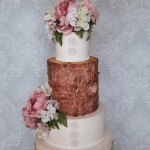 Rustic Floral Theme Country Wicker Love Hessian Lace Tree Wooden Style Effect Wedding Cake