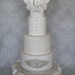 Sugar Ruffle Buttons Edible Frame Bride and Groom White and Diamante Wedding Cake
