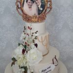 Diamaind 60th Wedding Anniversary 2 tier floral sugar frame bride and groom celebration cake