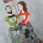 Travel Outdoor Sporting Bride and Groom Handmade Sugar Characters and Sugar Dogs Wedding Cake