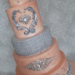 Diamante and Crystal Coral Pink and Silver Stylish Modern and Classy Wedding Cake