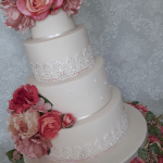Floral Diamante Lace and Pearls 3 Tier Ivory Wedding Cake